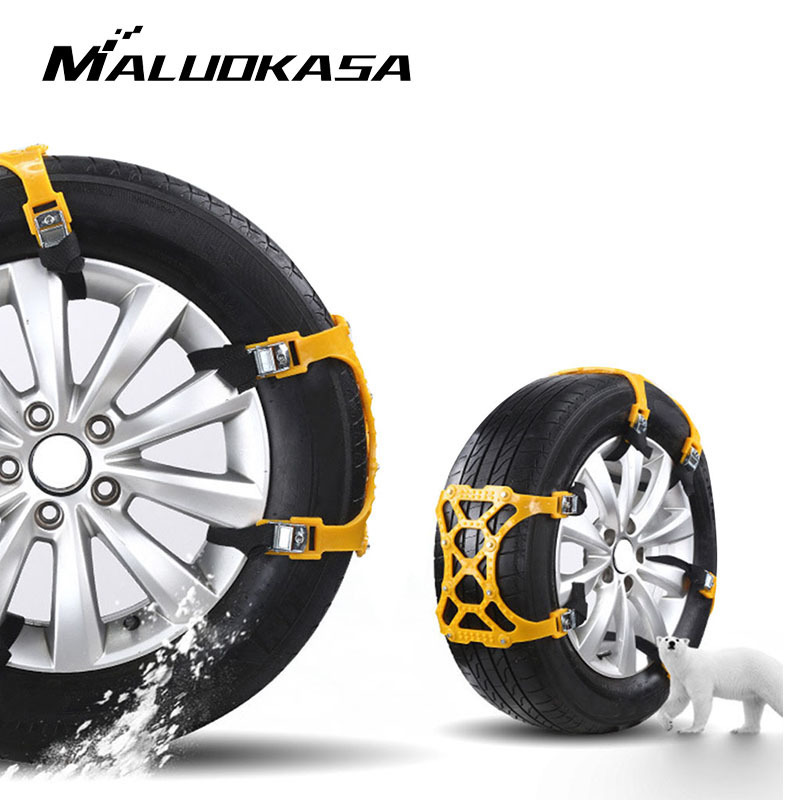 MALUOKASA 2PC/4PCs ATPU Universal Car Suit 88cm Tyre Winter Roadway Safety Tire Chains Snow Climbing Mud Ground Anti Slip
