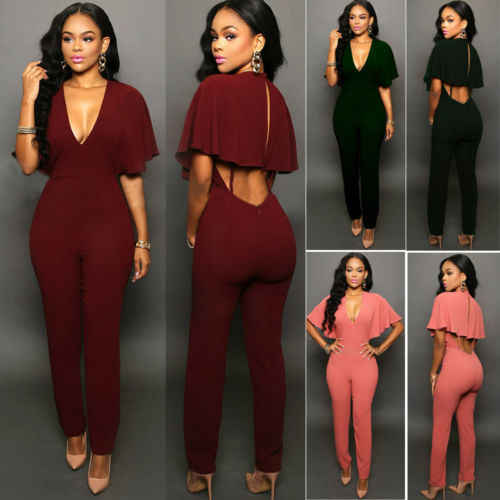 2016 nowych kobiet Clubwear dekolt w serek kombinezony Party Slim Fit stałe kombinezony Romper spodnie