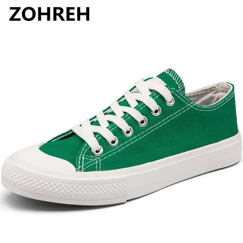 ZOHREH Classic Female Canvas Shoes Women Flats 2018 Spring Black White Green Yellow Casual Sneaker Round Toe Lace Up Large Size women s casual breathable lace up floral pattern canvas shoes green yellow white eur size 39