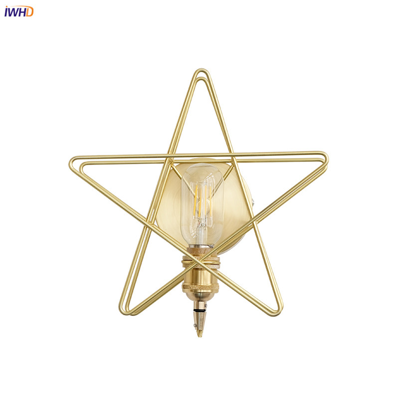 IWHD Pure Copper Nordic LED Wall Light Fixtures Bathroom Bedroom Beside Star Modern Simple Gold Wall Lamp Sconce Wandlamp LEDIWHD Pure Copper Nordic LED Wall Light Fixtures Bathroom Bedroom Beside Star Modern Simple Gold Wall Lamp Sconce Wandlamp LED