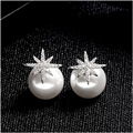Trendy starburst double side pearl earring rhodium plated zircon copper stud earring