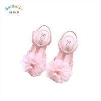 2018 sommer neue Koreanische kinder schuhe mädchen band sandalen blume perle weichen sohlen