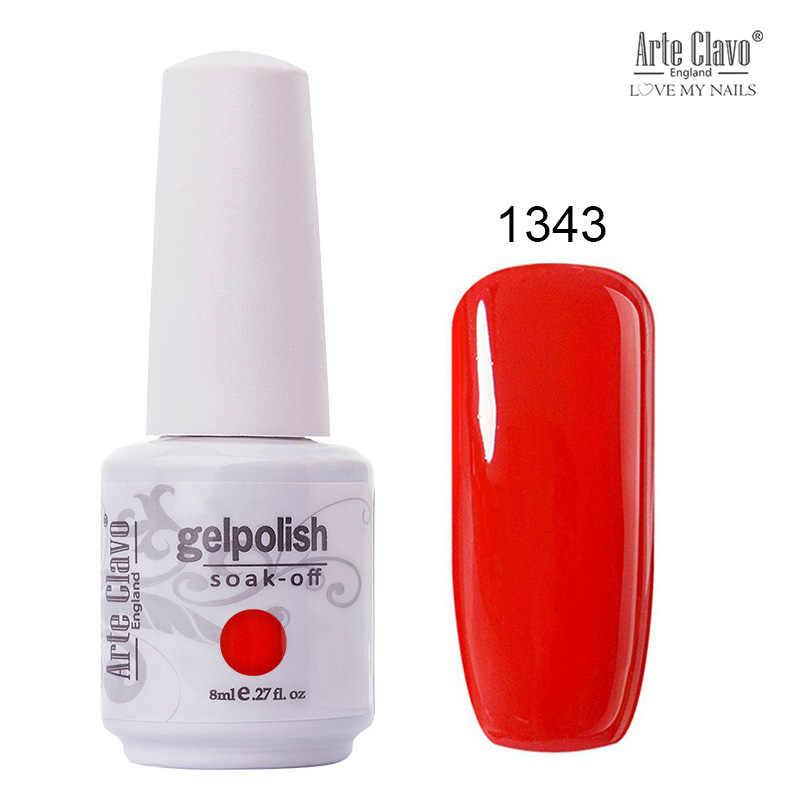 Arte Clavo 8ml oje tırnak jeli kapalı ıslatın UV hibrid jel cila tırnak astar jel vernik kırmızı pembe sim tırnak makyaj