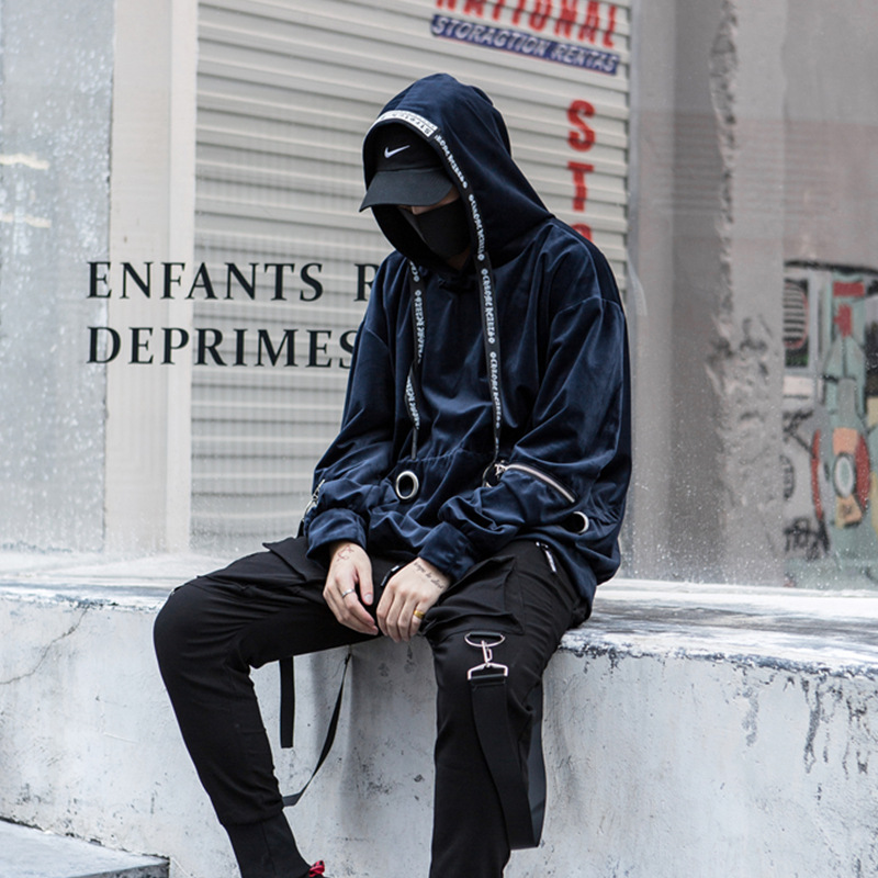 Men High Street Hip Hip Casual Loose Hooded Sweatshirts Oversized Male Long Sleeve Pullover Hoodie Jacket