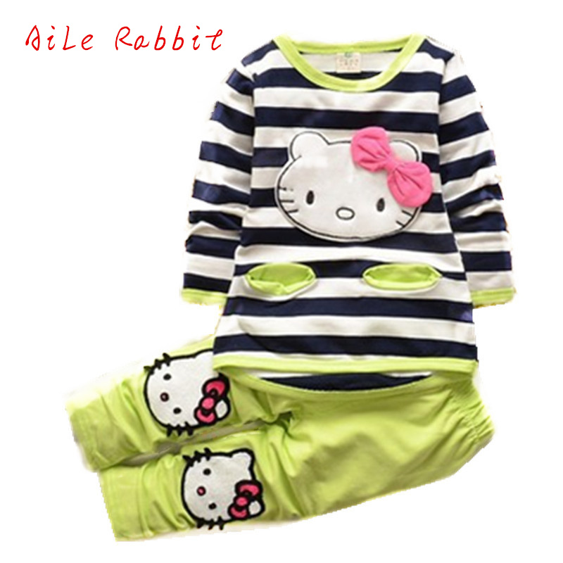 Baby Boys Girls Fashion Sport Suit Kids Clothes Striped T-shirt + Pants Cartoon Kids Casual Cartoon Hello Kitty Long Sleeved Set