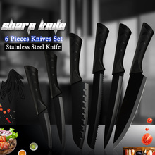 COOBNESS Kitchen Knives Set Chef Cooking Knife Fruit Vegetable Chopper Cleaver Slicing Bread Black Blade With Cover