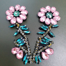 2pcs/lot Handmade rhinestone beaded Patches for clothes DIY sequin applique flowers Embroidery floral parches bordados para ropa