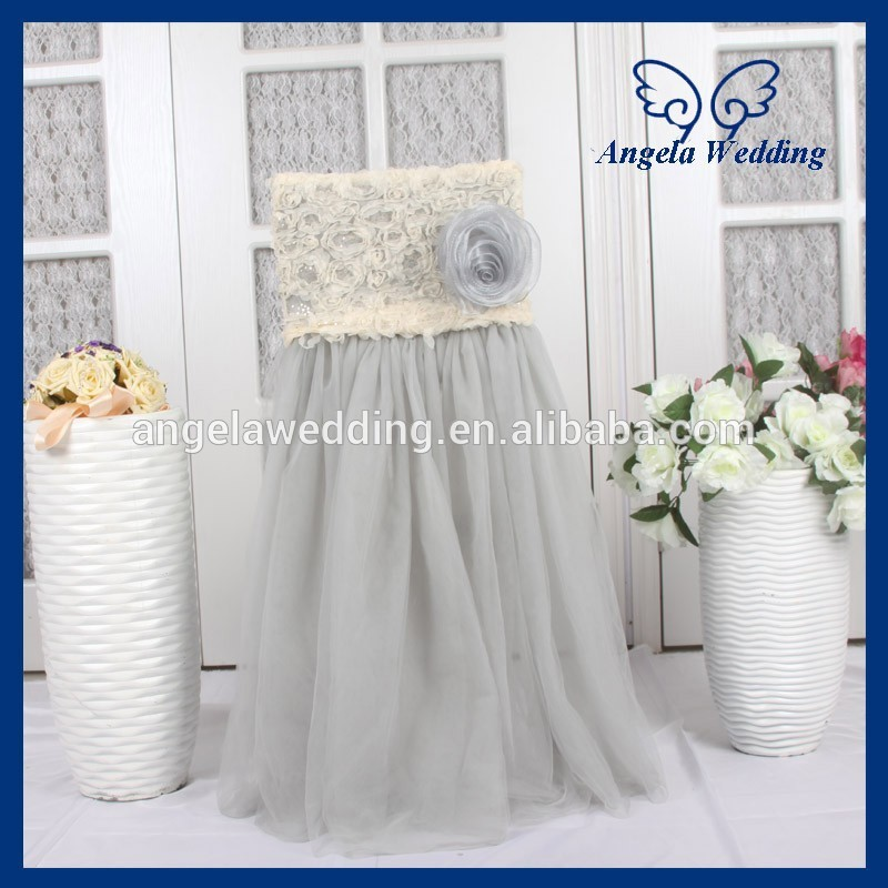 ch019j wholesale custom made champagne rosette chiffon top fancy tutu grey tulle chair cover with rose