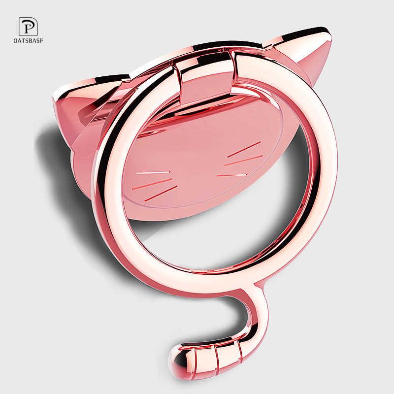 גדול חתול 360 תואר לסובב טלפון מחזיק אצבע טבעת טלפון נייד Stand מחזיק עבור iPhoneX 8 XR שיאו mi mi כל חכם טלפון בעל