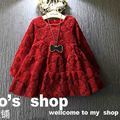 Girls Princess Dress Fashion Long Sleeve Lace Soild Color Dress For Baby Girl Casual bubble Dress For Child 2-6 Years Old