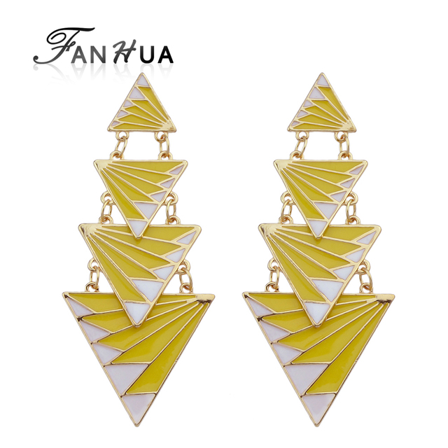 FANHUA  Triangle Geometric Earrings Irregular Yellow Red Black Enamel Drop Earrings Brincos Women Long Earrings from india