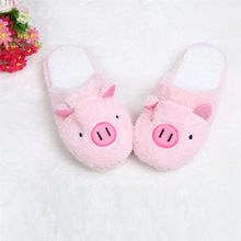 Winter Warm Slippers Indoor Home Shoes cotton Slipper Lovely Pig Home Floor Soft Stripe Slippers Female Shoes buty damskie #20(China)