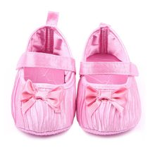 2017 Toddler Baby Girls Princess Shoes Infant Girl Bows Silk Soft Sole Crib Shoes(China)