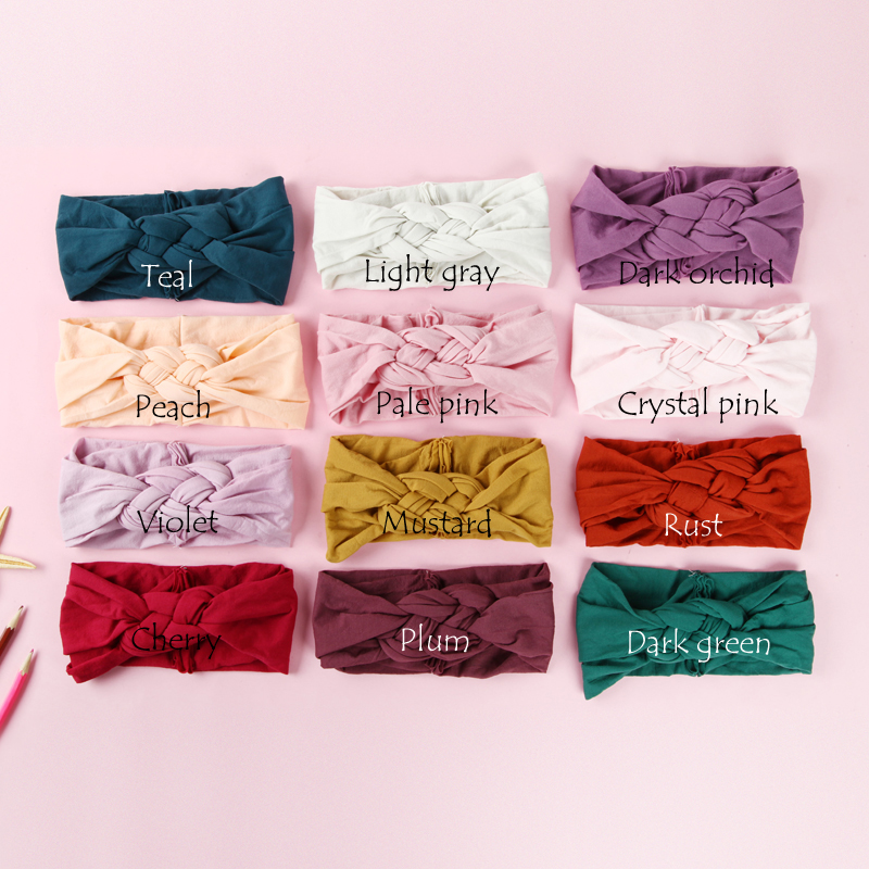 100 pcs/lot , Sailor Knot Nylon Headbands, Braided Nylon Headwraps, One Size fits most 27 colors