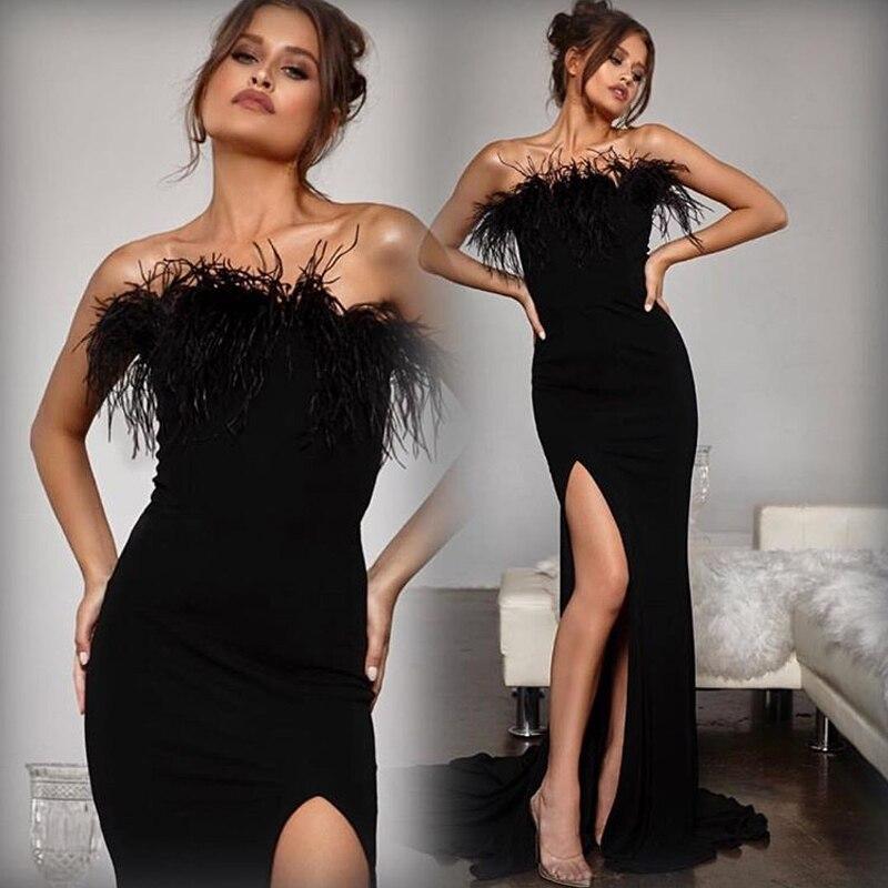 Summer Black Feather Maxi Dress Slash Neck Stretch Split Leg Strapless Bodycon Backless Floor Length Sleeveless