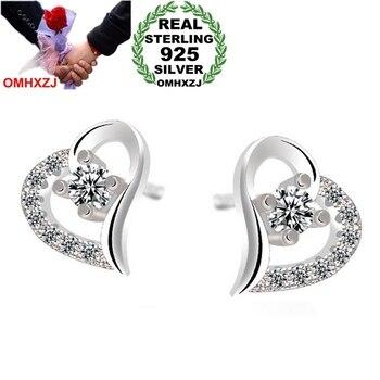 OMHXZJ WHOLESALE Fashion girl Sexy woman jewelry shine bright AAA zircon wish love Heart 925 Sterling Silver Stud Earrings YS64