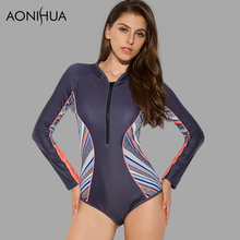 AONIHUA 2018 new Vibrant Side Striped One Piece Swimsuit for Women Long sleeve zipper Swimwear female Push up swimming Suit 9015