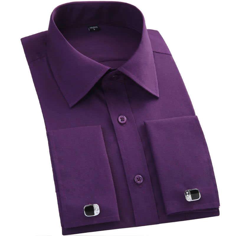 Белая/черная французская запонка, мужская рубашка на пуговицах, французская запонка, синяя, белая, с длинными рукавами, деловая, повседневная, приталенная, однотонная