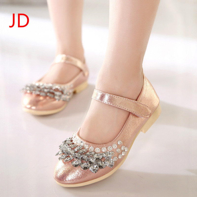JD Childrens Leather Shoes, New Girls, Princess Shoes, Middle School Children, Single Shoes, Rhinestone, Bow Tie, Peas Shoes