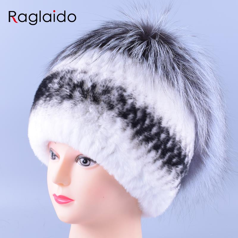 2016 Hand Knitted Beanie Women Real Rex Fur Winter Hats Natural Genuine Rabbit +Fox Cap Warm Soft Thick Headwear LQ11156