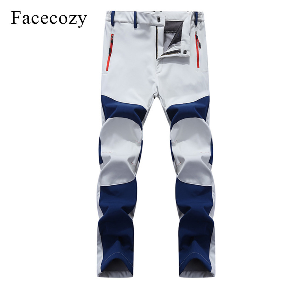 Facecozy Men Softshell Pants Outdoor Waterproof Fleece Hiking Camping Winter Men Sports Trousers For Trekking Hunting Fishing