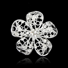 Brooches For Wedding  Fashion Vintage Women Rhinestone Brooch Clear Crystal Flowers Silver Brooches Pins top sale
