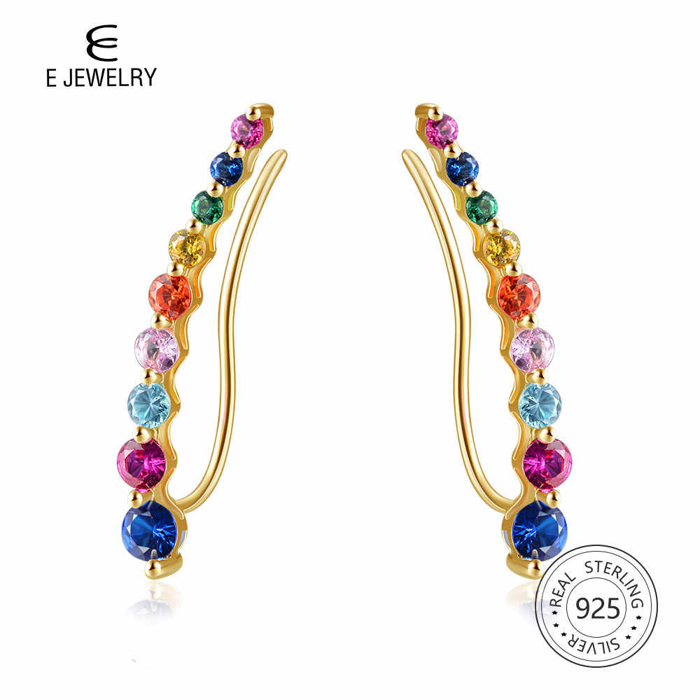 E Rainbow Bar Earrings Trendy Stud Earrings Colorful Gemstone Combination 925 Sterling Silver 14k Gold Plated for Women Jewelry