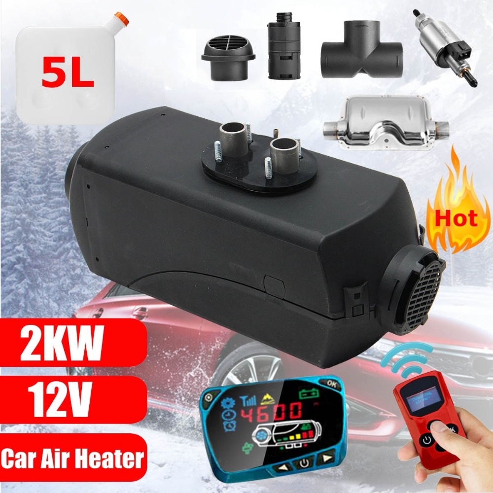 12V 2KW Car Diesels Air Parking Heater Car Heater LCD Remote Control Monitor Switch + Silencer for Trucks Bus Trailer Heater