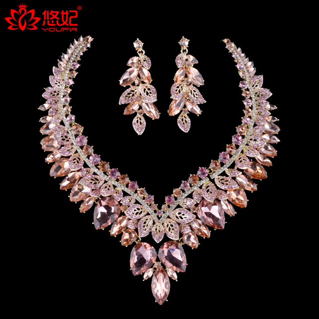 Gorgeous Light Peach Color Rhinestone Necklace Earrings Bridal Jewelry Sets For Brides Wedding Party Prom Decoration