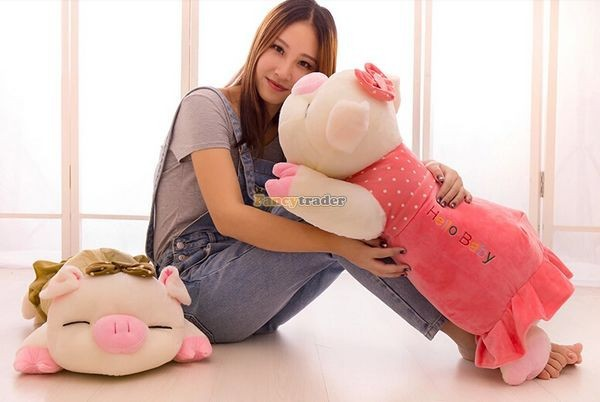 Fancytrader Hot Selling 35\'\' 90cm Super Lovely Soft Stuffed Giant  Lying Pig Toys ,3 Colors Available!Best Gift and Decoration for Kids, Free Shipping FT50069(10)