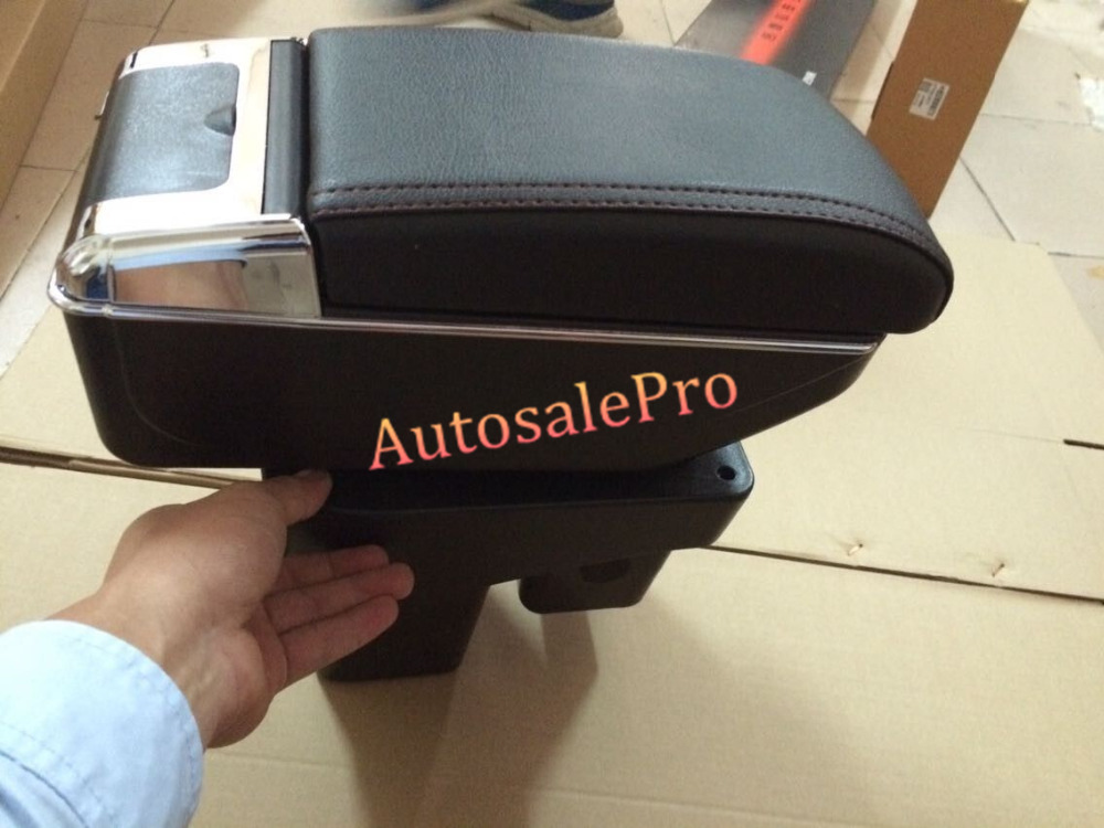 Black Interior Storage Box Armrest Center Console For Honda FIT Jazz 2014 2015 car styling 1pcs center console armrest storage box elbow supporting armrest for nissan qashqai sunny tiida livina
