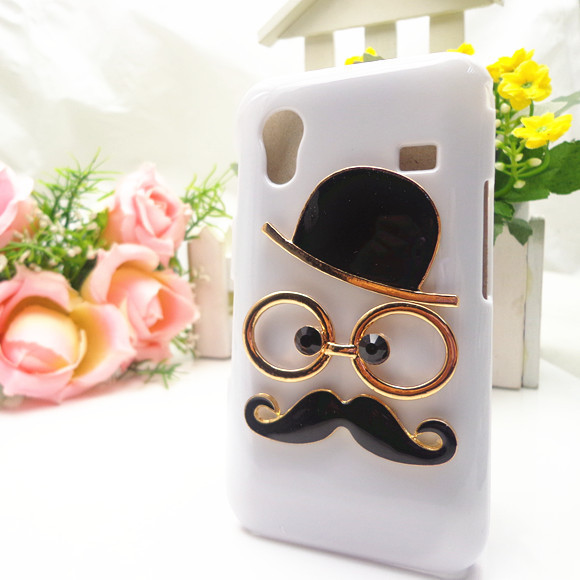 Gentleman 3D Fashion Glasses Hat Hard Back Cases Cover for Samsung Galaxy Ace S5830 Case