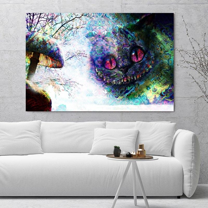 Alice In wonderland Cheshire Cat Art Silk Poster 12x18 24x36