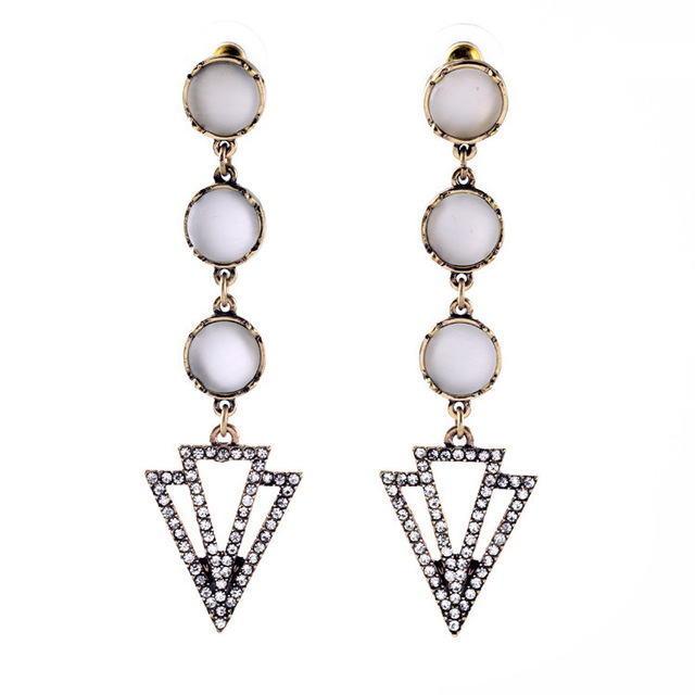 Fashion Women Boutique Costume Jewelry New Lady Accessories Vintage Gold Opal White Art Deco Dangle Drop