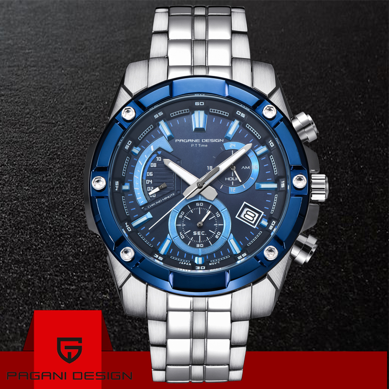2019 Fashion PAGANI DESIGN Chronograph Business Watches Men Waterproof Quartz Military Sport Watch Clock Men Relogio Masculino