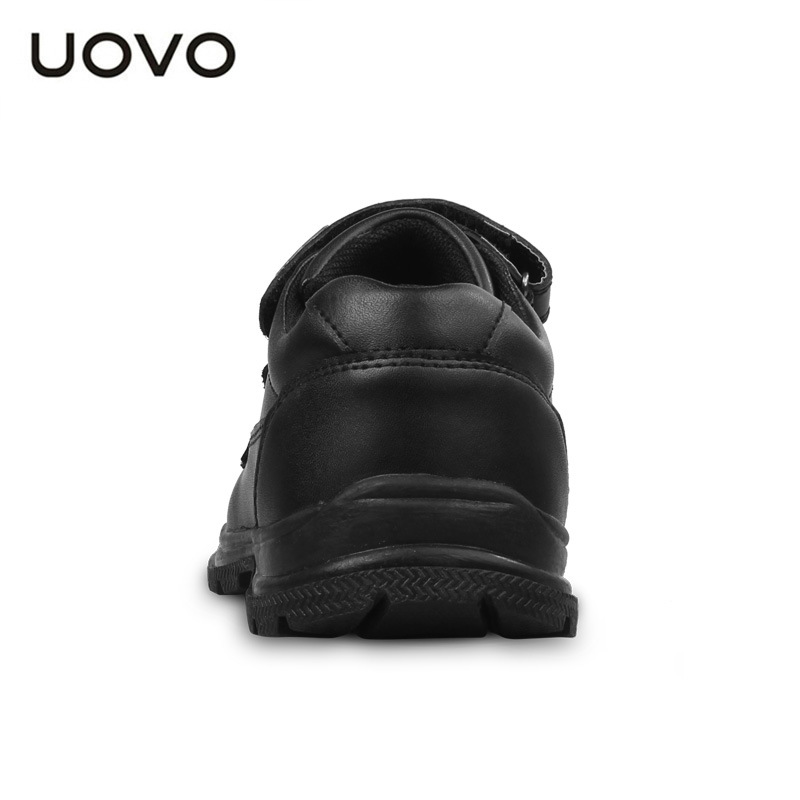 UOVO 2017 New Childrens Real Leather (Cow Split) Shoes Boys Waterproof Black Leather Shoes School Uniform Shoes Wearable Casual