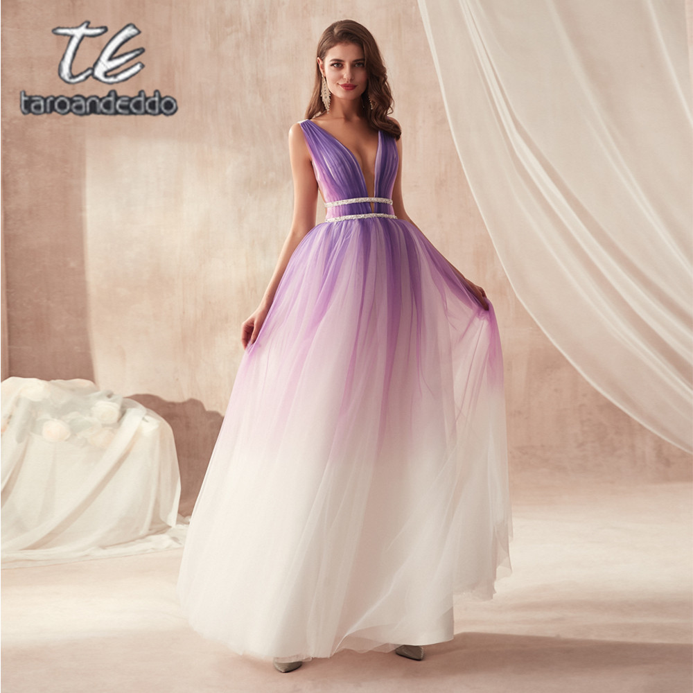 V-neck A-line Fashion Fade Purple Tulle Multicolor   Prom     Dress   Two Stones Beading Waistline Flowing Tulle Backless Evening Gowns