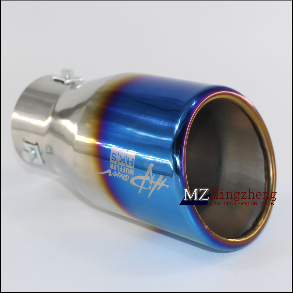76mm 101mm stainless steel universal Auto Blue plating exhaust tip tailtip end pipe for bmw vw golf