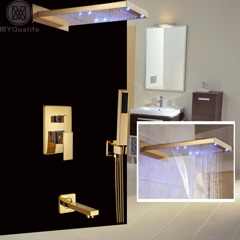 Classic Golden Bath Shower Faucet Wall Mount Rain Waterfall Shower Mixer Tap with Handshower + Tub Spout kemaidi new modern wall mount shower faucet mixer tap w rain shower head