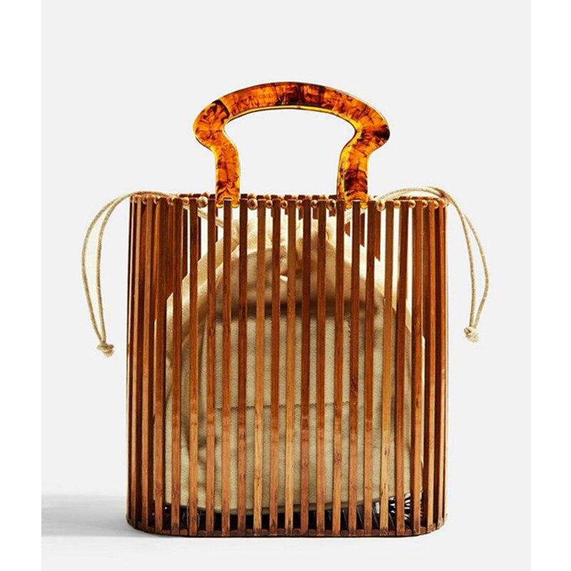 2019 New Fashion Designer Women Bags Acrylic Handle Woven Bamboo Bag Lady Stitching Hollow Bag Clutch Bali Beach Holiday Handbag2019 New Fashion Designer Women Bags Acrylic Handle Woven Bamboo Bag Lady Stitching Hollow Bag Clutch Bali Beach Holiday Handbag