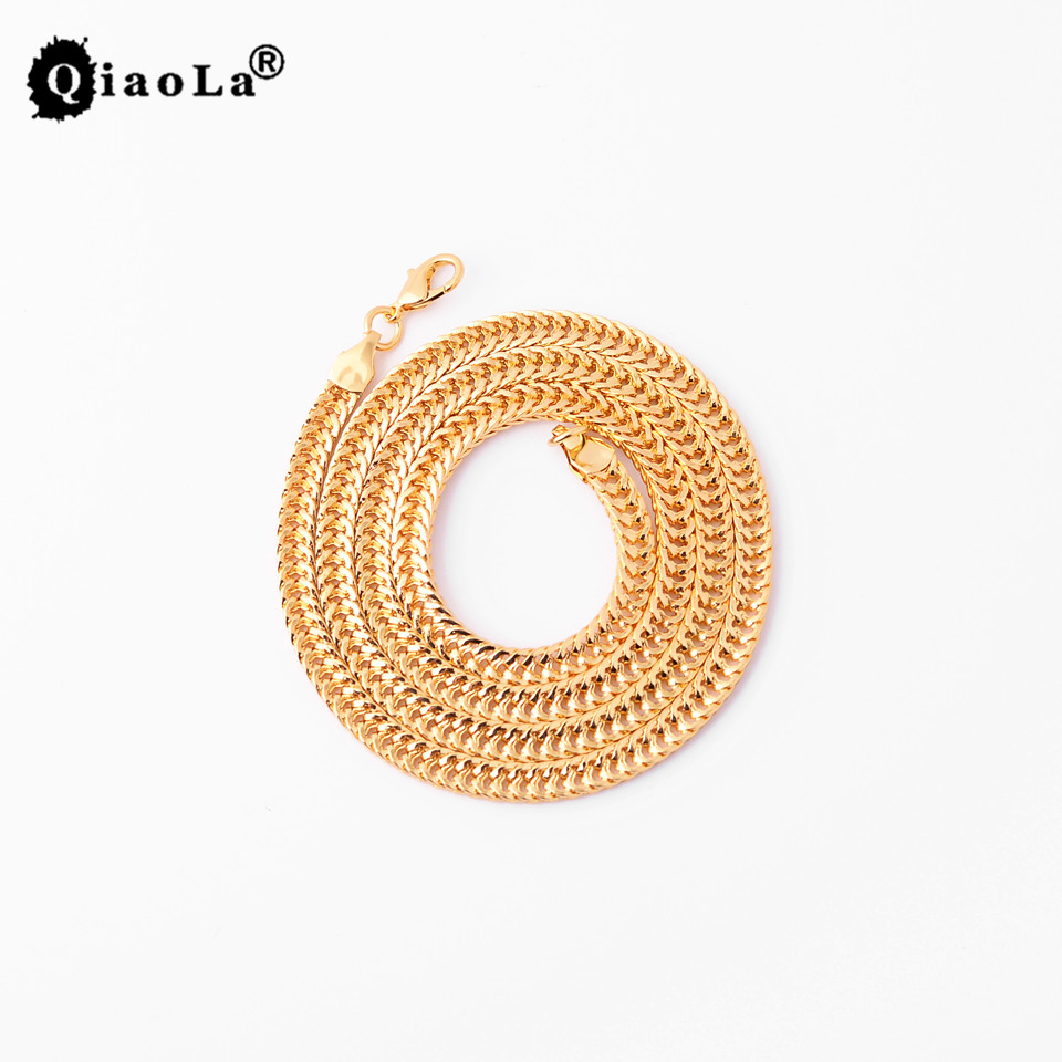 Qiao La Fashion Jewelry Set Stainless Steel Curb Cuban Necklace for Men Women Gold r Steel Curb Chain Necklace 45-60cm