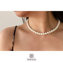 Elegant  Silver 925 Jewelry Classic Temperament Cream Necklace 8mm Pearl  925 Sterling Silver Chain for Women elegant quality silver 925 jewelry classic temperament wedding necklace 8mm pearl cream s925 sterling silver chain for women