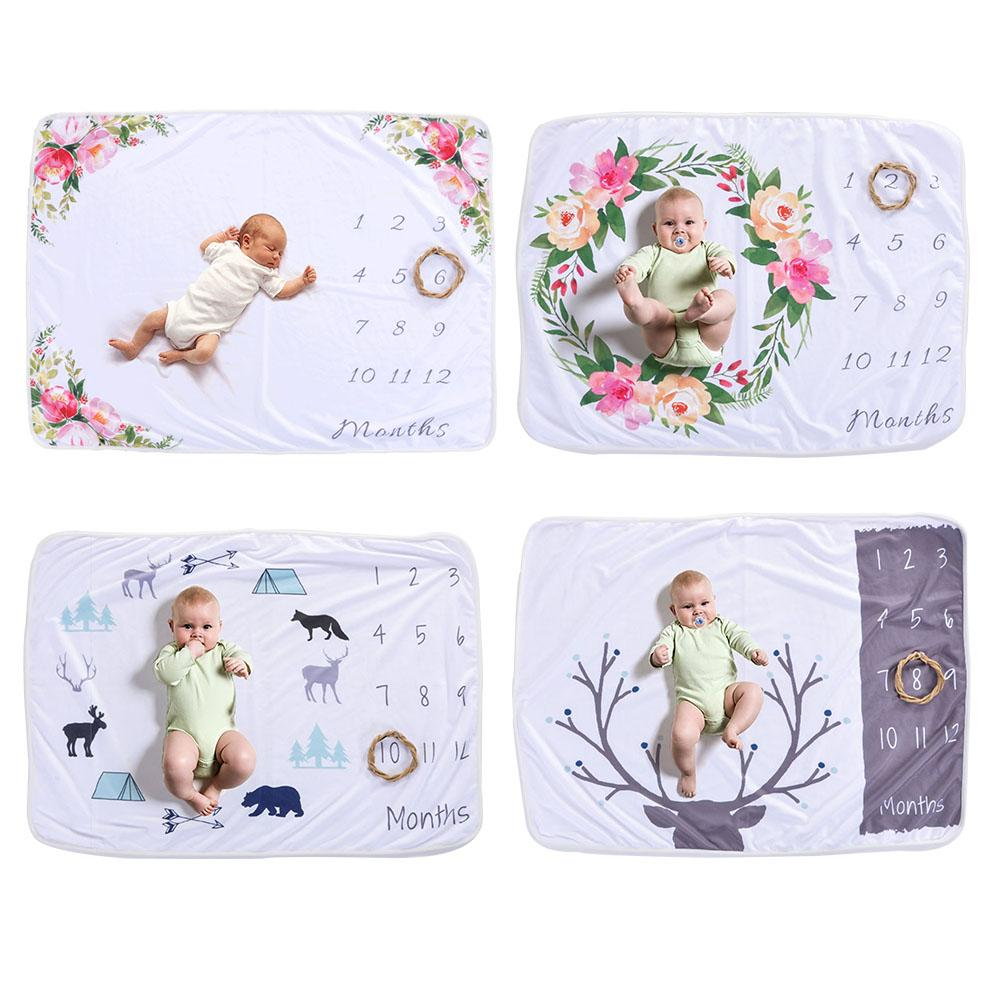 Infant Baby Milestone Blanket Photo Photography Prop Blankets Backdrop Cloth Calendar Boy Girl Photo Background Accessories