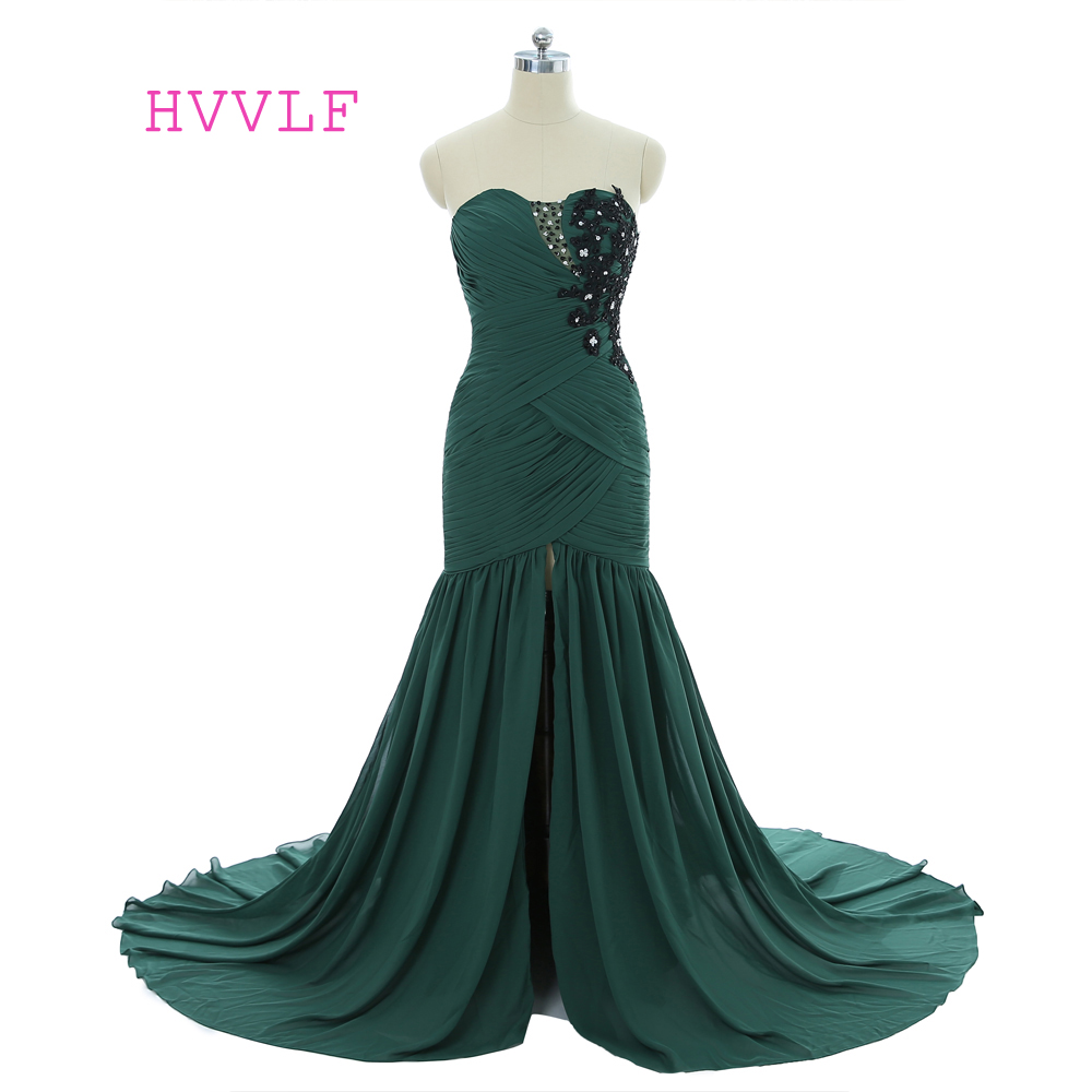 Green   Evening     Dresses   2019 Mermaid Sweetheart Chiffon Lace Beaded Slit Long   Evening   Gown Prom   Dress   Prom Gown Robe De Soiree