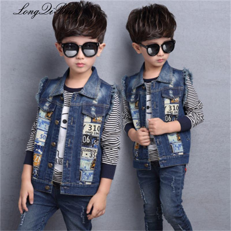 Cowboy Weste Frühjahr Und Herbst Kinder Kleidung Der 2018 Neue Welle Kinder Der Junge Koreanische Druck Denim Weste Weste Junge Mantel Komplette Artikelauswahl