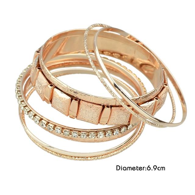 FANHUA 8pcs/set Indian Jewelry Rosegold Silver Gold Bracelets sets Wide Big Statement Bangles with Rhinestone Hot Sale Bijoux