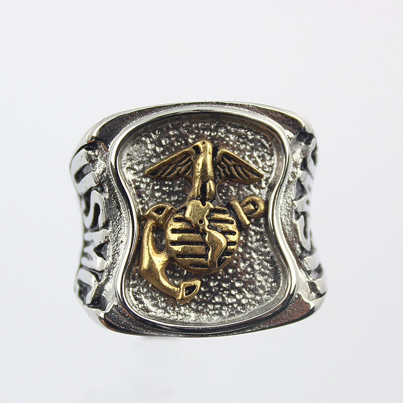 Us Marines Insignia Ring Silver Colored Marine Corps