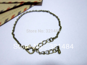 Free ship 100piece/lot 7.5 inch with lobster clasp and extender chain bracelet accessories antique bronze brass metal