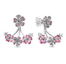Peach Flowers Women Earrings Limited Edition Sterling Silver Crystal Jewelry Spring stud for New