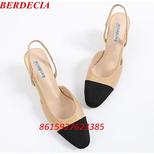 95fc3b0c183 Black Nude Patchwork Women s Slingback Pumps Dress Shoes Block Heel Beige  Casual Buckle Strap Summer Shoes Women Large Size 43